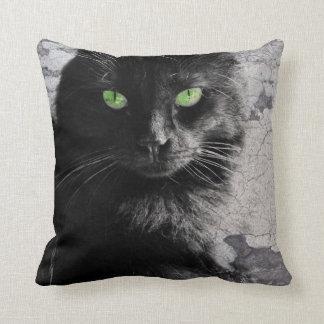 Green Eyed Black Cat, Artsy Pillow