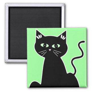 Green Eyed Black Cat Cartoon Art 2 Inch Square Magnet