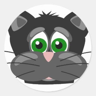 Green-eyed black Cat Classic Round Sticker