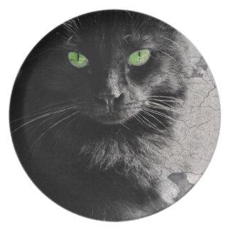 Green Eyed Black Cat, Eyes Whiskers Face Melamine Plate