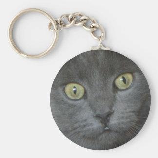 Green Eyed Black Cat Key Chain