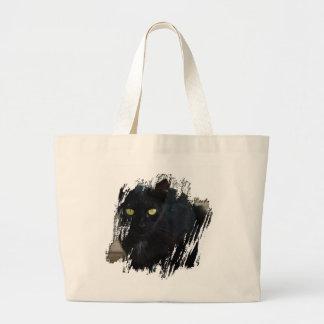 Green Eyed Black Cat; No Greeting Large Tote Bag