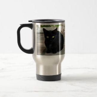 Green Eyed Black Cat; No Greeting Coffee Mugs