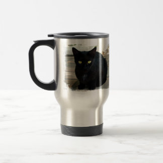 Green Eyed Black Cat; No Greeting Coffee Mug