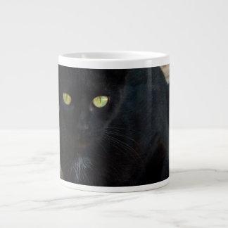 Green Eyed Black Cat; No Greeting 20 Oz Large Ceramic Coffee Mug