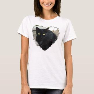 Green Eyed Black Cat; No Greeting T-Shirt