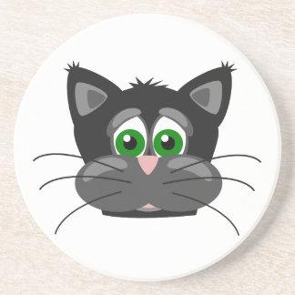 Green-eyed black Cat Sandstone Coaster