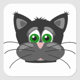 Green-eyed black Cat Square Sticker