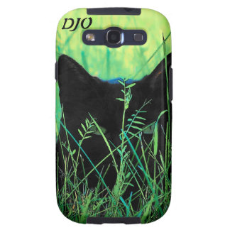 Green Eyed Black Cat stalking Galaxy SIII Covers