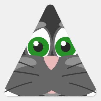 Green-eyed black Cat Triangle Sticker