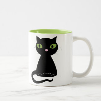 Green-Eyed Black Cat Two-Tone Coffee Mug