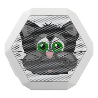 Green-eyed black Cat White Bluetooth Speaker