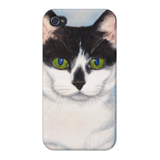 Green-Eyed Black & White Cat Painting iPhone 4/4S Covers