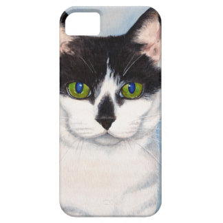 Green-Eyed Black & White Cat Painting iPhone SE/5/5s Case