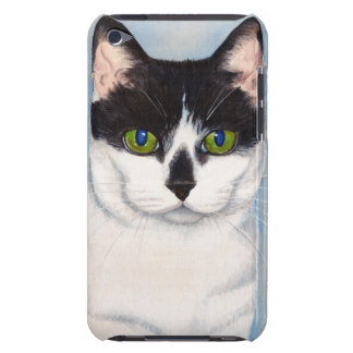 Green-Eyed Black & White Cat Painting iPod Touch Cover