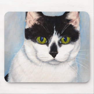 Green-Eyed Black & White Cat Painting Mousepad Mouse Pad