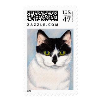 Green-Eyed Black & White Cat Painting Postage