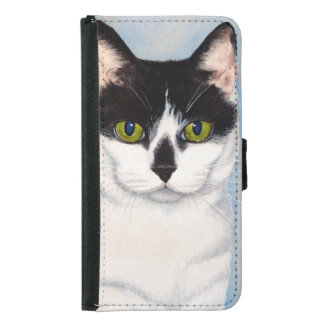 Green-Eyed Black & White Cat Painting Wallet Phone Case For Samsung Galaxy S5