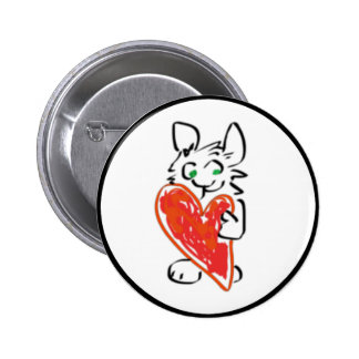 Green Eyed Bunny Rabbit with Heart 2 Inch Round Button