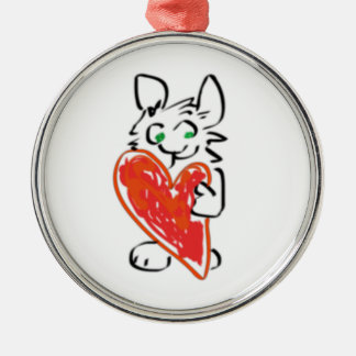 Green Eyed Bunny Rabbit with Heart Metal Ornament