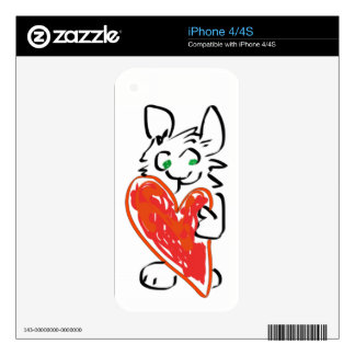 Green Eyed Bunny Rabbit with Heart Skins For iPhone 4S