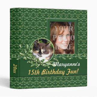 Green Eyed Calico 1 Inch Birthday Binder