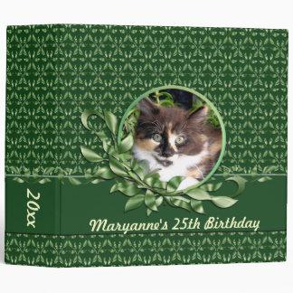 Green Eyed Calico 2 Inch Birthday Binder