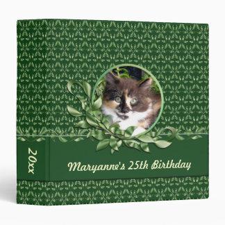 Green Eyed Calico Kitten Birthday 1.5 inch Binder