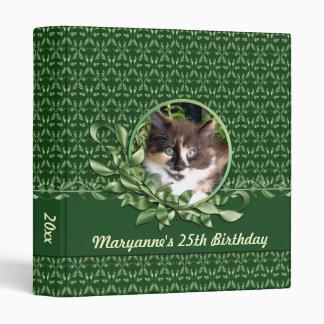 Green Eyed Calico Kitten Birthday 1 inch Binder