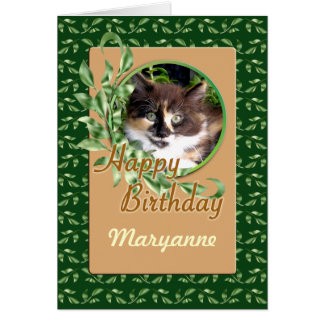 Green Eyed Calico Kitty Happy Birthday Card