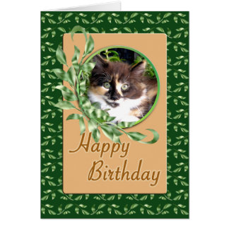 Green Eyed Calico Kitty Happy Birthday Card