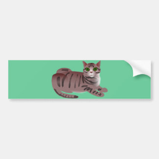 Green Eyed Cartoon Cat Bumper Sticker