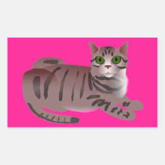 Green Eyed Cartoon Cat Rectangular Sticker