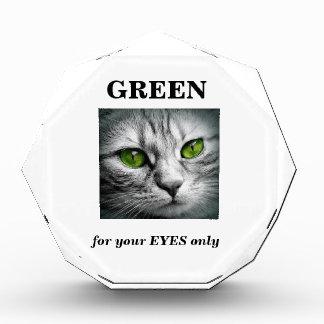 green eyed cat acrylic award
