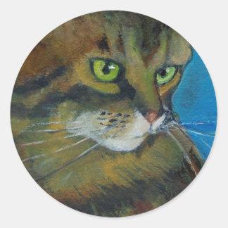 GREEN-EYED CAT (ARTWORK) CLASSIC ROUND STICKER