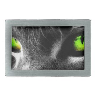 Green eyed cat belt buckles
