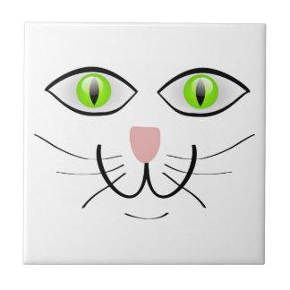 Green eyed Cat Cartoon Art Ceramic Tile