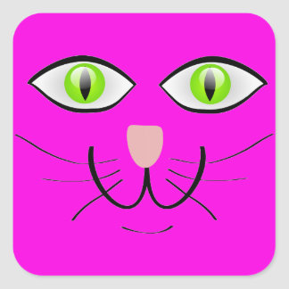 Green eyed Cat Cartoon Art Square Sticker