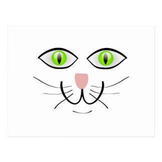 Green-Eyed Cat Face Cartoon Postcard