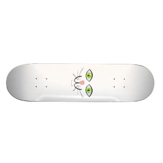 Green-Eyed Cat Face Cartoon Skate Board Decks