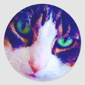 Green eyed Cat face round stickers