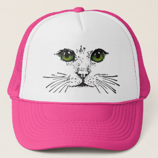 Green Eyed Cat Face Whiskers Trucker Hat