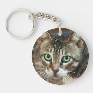 Green Eyed Cat Single-Sided Round Acrylic Keychain