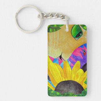 Green-Eyed Cat, Ladybug, and Flower Keychain