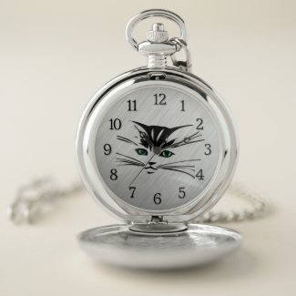 Green Eyed Cat Pocket Watch