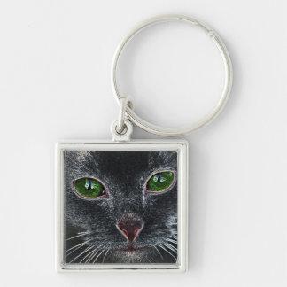 Green-eyed cat portrait key chain