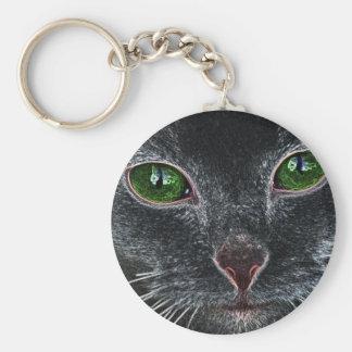 Green-eyed cat portrait key chains