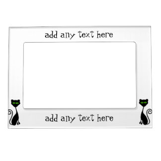 Green Eyed Cat Silhouette Magnetic Picture Frame