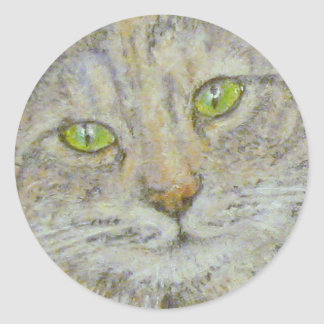 Green-eyed Cat Staring at You Sticker