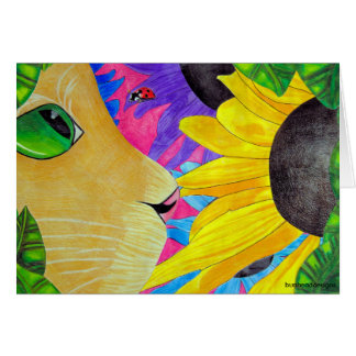 Green-Eyed Cat with Ladybug and Flower Card